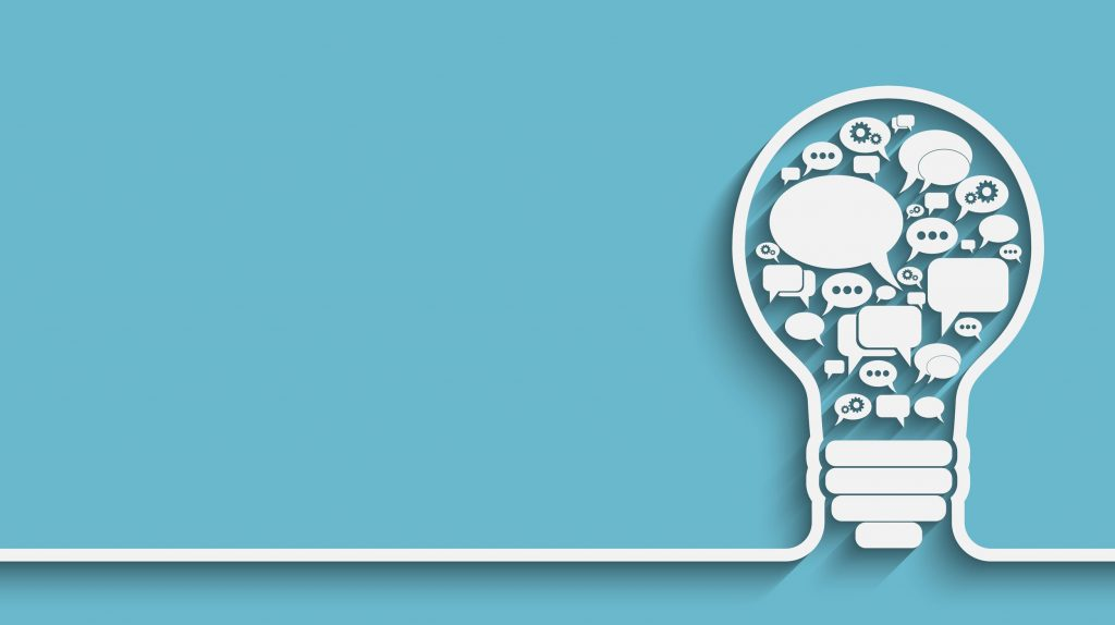 Illustration of a lightbulb with ideas and questions inside