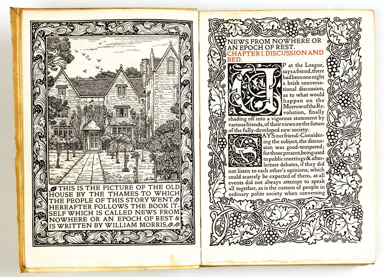 open pages from 19th Century ornate William Morris book