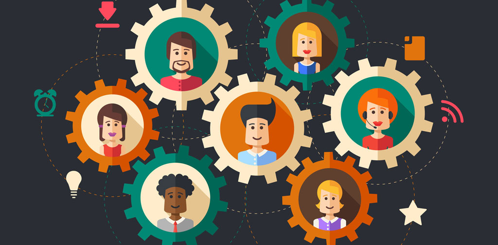 illustration of faces in cog wheels, all linked together - indicating team culture