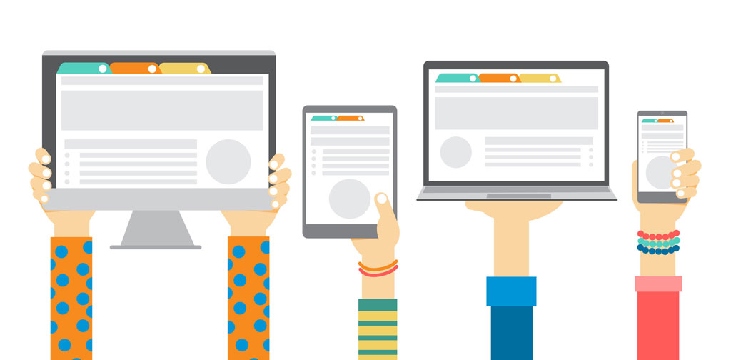 illustration of hands holding up different screens (tablet, laptop, phone etc)