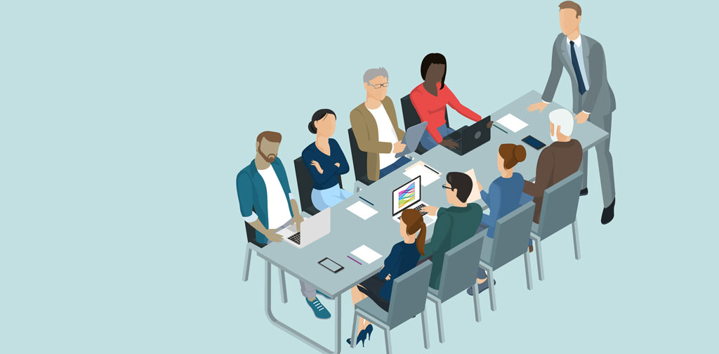 Illustration of people sitting round a meeting table. One person stands aggressively. The remaining 8, sit in different postures.