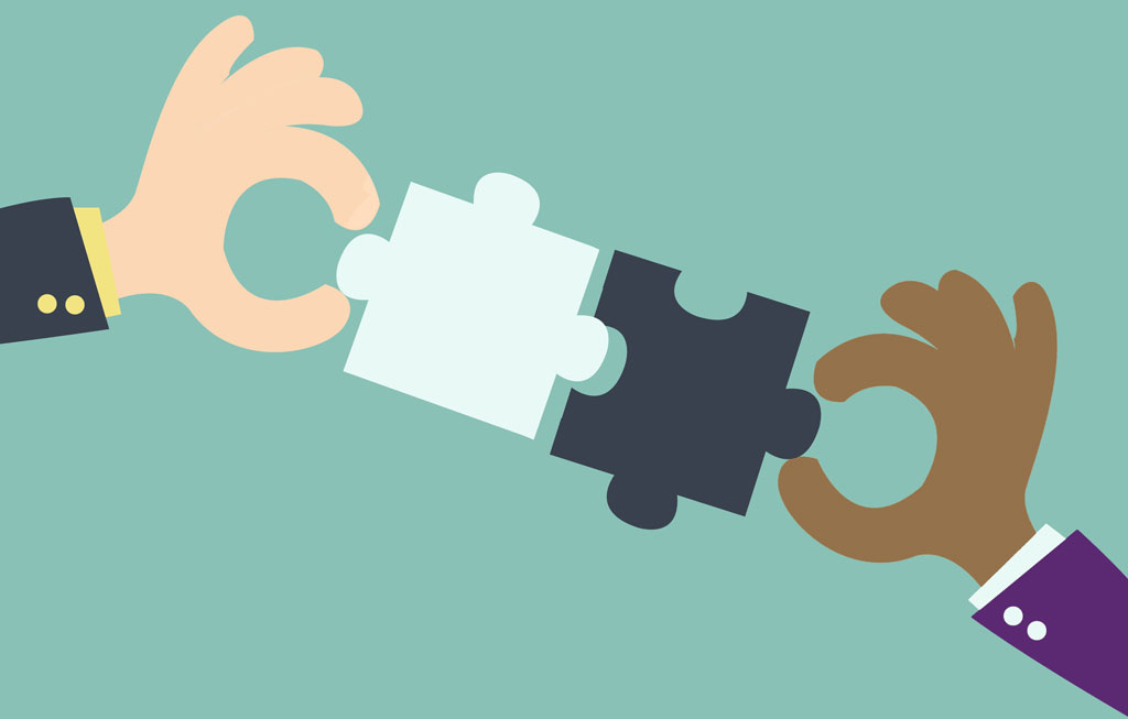 Graphic of two jigsaw pieces being joined together