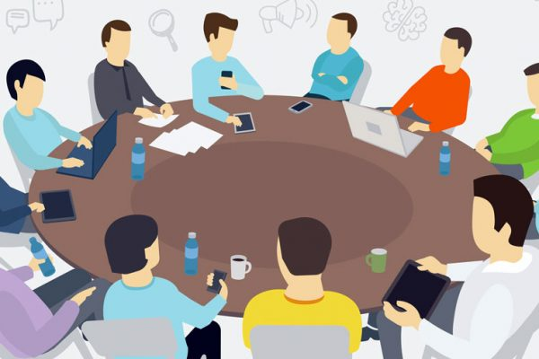 circular meeting table. full meeting attended by people who all look the same. no diversity. illustration